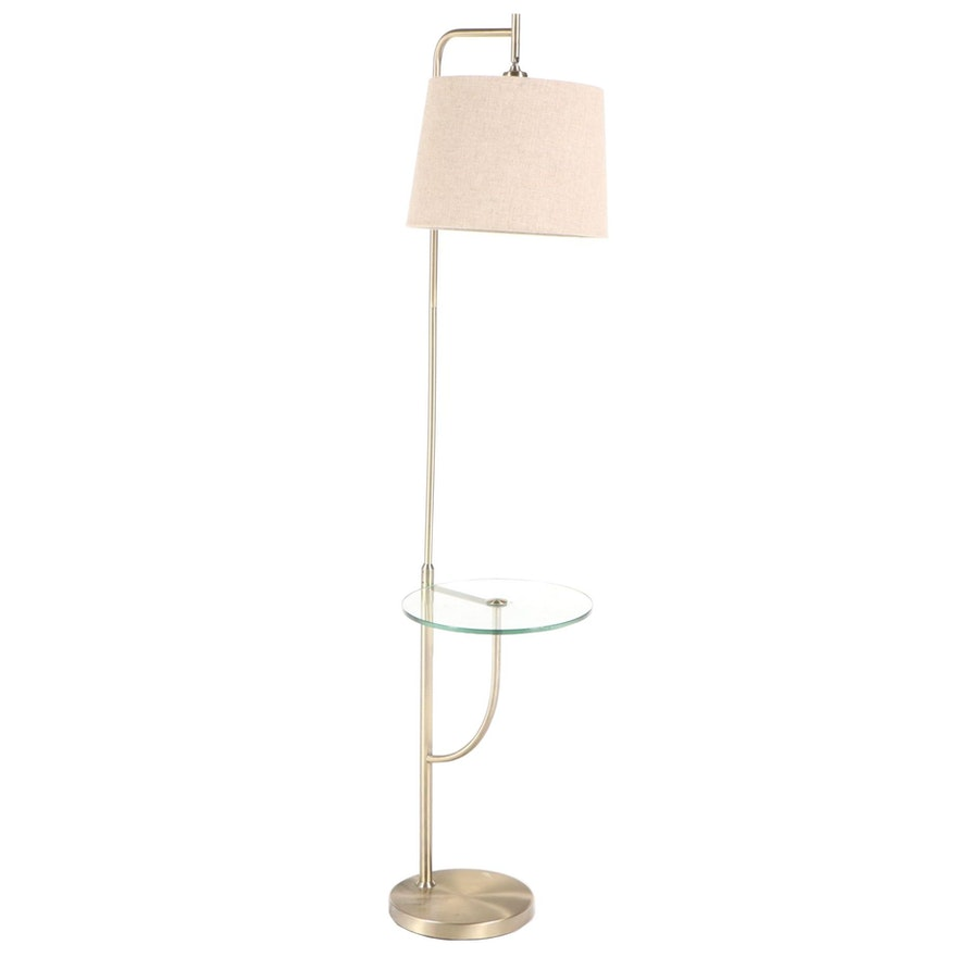 Brushed Brass Finish Floor Lamp with Glass Table Shelf