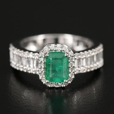 EFFY 14K WHITE GOLD DIAMOND, NATURAL EMERALD RING