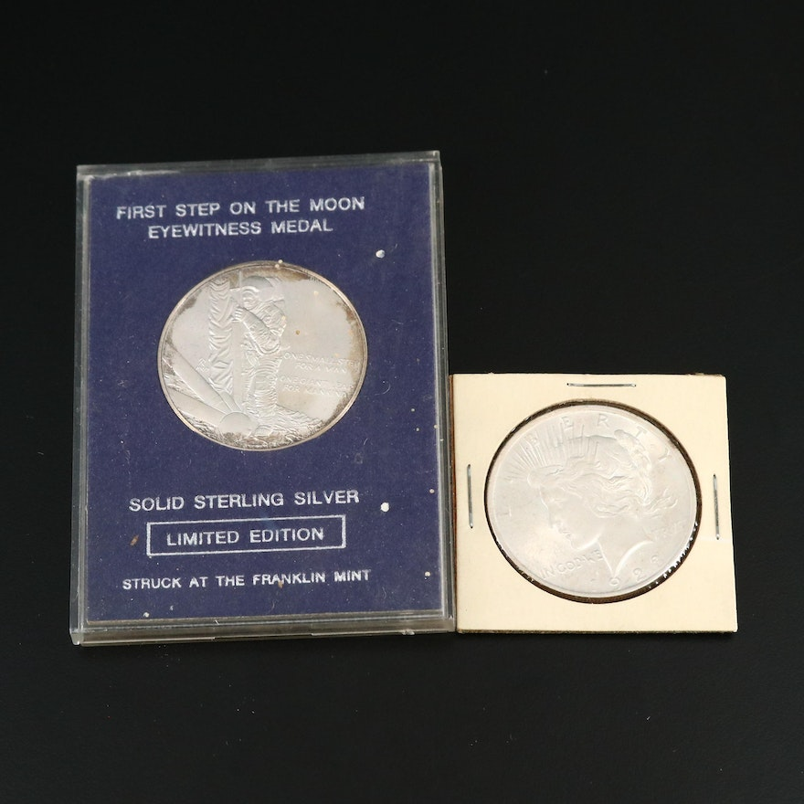 1923 Peace Silver Dollar with Silver Eyewitness Medal