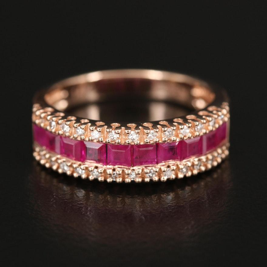EFFY 14K ROSE GOLD DIAMOND, NATURAL RUBY RING