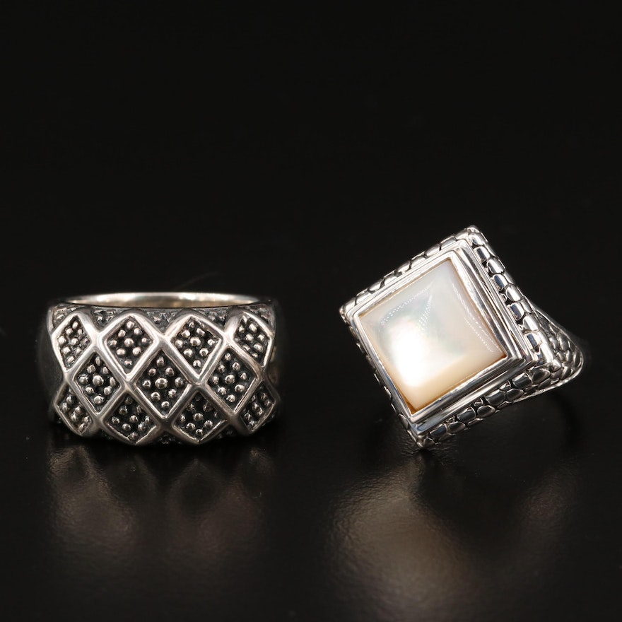 Michael Dawkins Sterling Silver Rings Featuring Mother of Pearl and Granulation