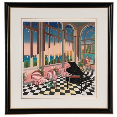 "Fanch Ledan Color Lithograph ""Interior With Max,"" 1994"