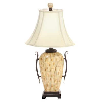 """The Silky Way """"Bukhara"""" Bronze Patinated and Faux Bamboo Composite Table Lamp"""
