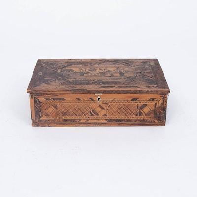 Napoleonic Prisoner of War Straw Work Box, Early 19th Century