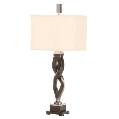 Uttermost Chromed Metal and Bronze-Patinated Composite Table Lamp