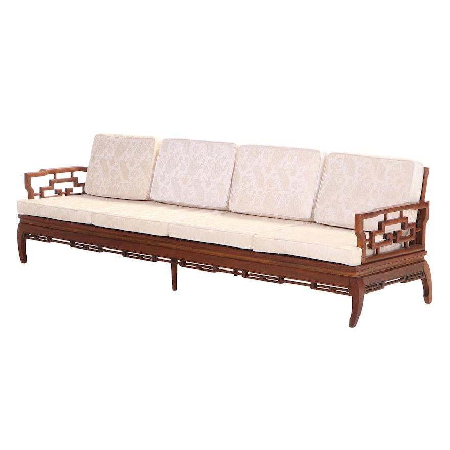 Chinese Style Teak Four-Seat Sofa, Mid-20th Century