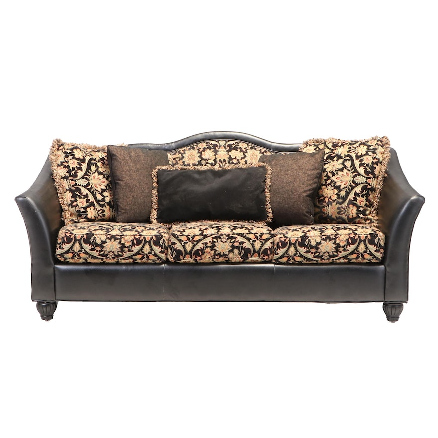 Leather and Feather Blend Sofa with Partial Tapestry Upholstery