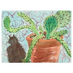 Kathleen Zimbicki Watercolor Painting of Cat and Plant