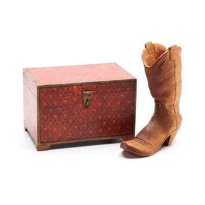 Gene Cleavenger Carved Wood Cowboy Boot Candlestick Holder and Painted Box