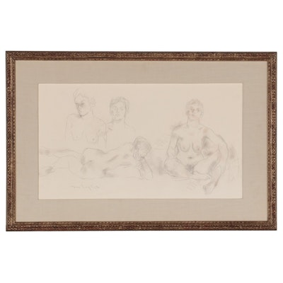 Moses Soyer Figurative Graphite Drawing of Nude Studies