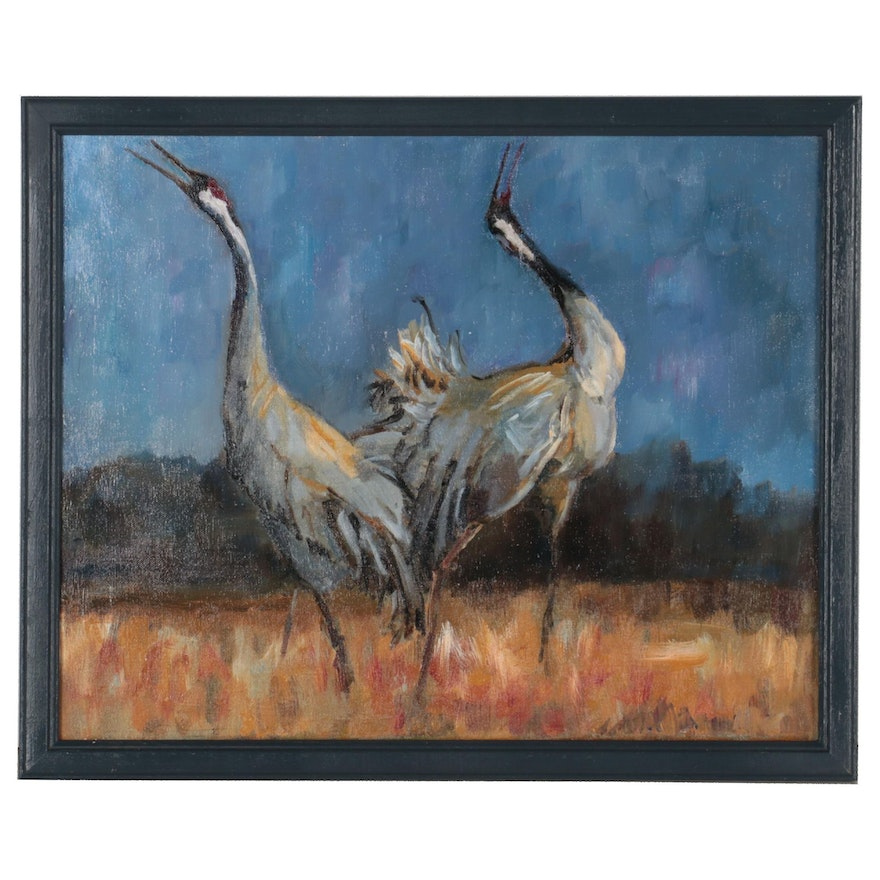 """Kate Ansolis Oil Painting """"Song of Cranes,"""" 2021"""