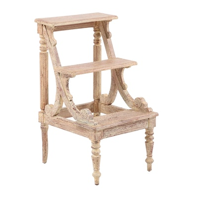 Sheraton Style Library Step Stool in Distressed Painted Finish
