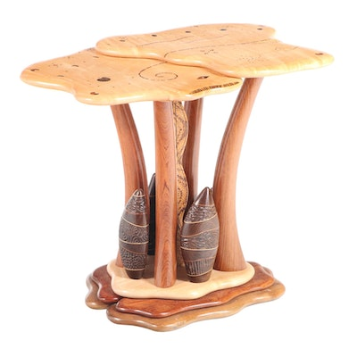 Steven Spiro Specimen Wood, MOP, and Fossil-Inlaid Mixed Hardwood Side Table