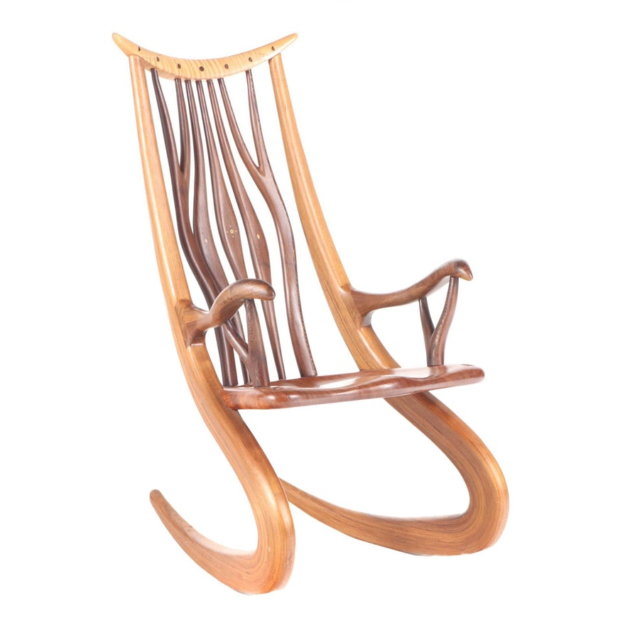 Steven Spiro Specimen Wood and Fossil-Inlaid Mixed Hardwood Rocking Chair