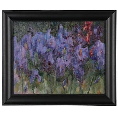 "Kate Ansolis Floral Oil Painting ""Purple Irises,"" 2021"