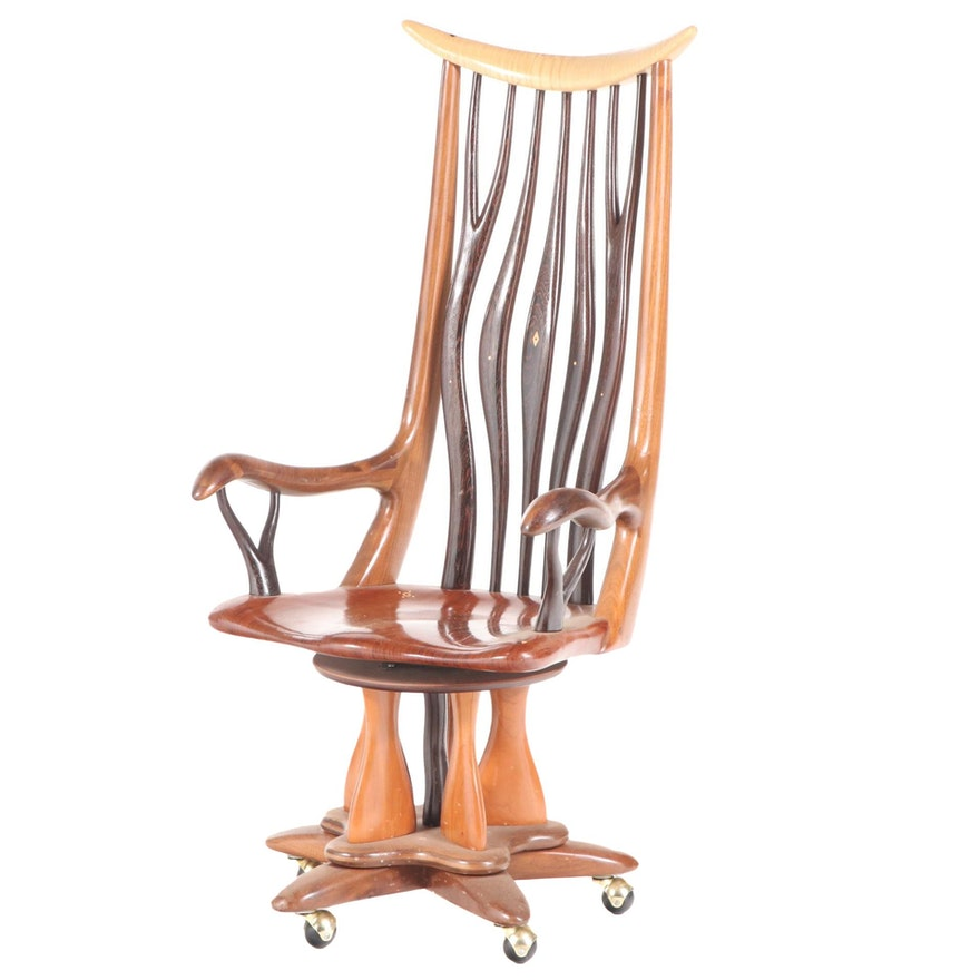 Steven Spiro Specimen Wood, MOP, and Fossil-Inlaid Mixed Hardwood Desk Chair