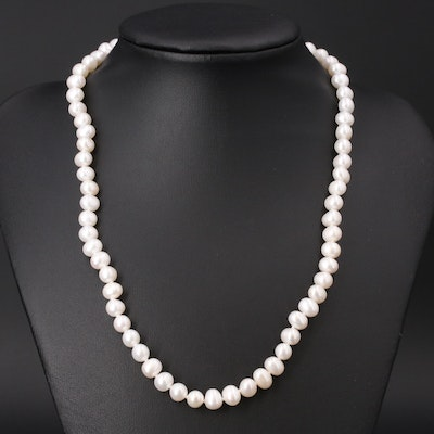 Pearl Necklace with Sterling Silver Clasp