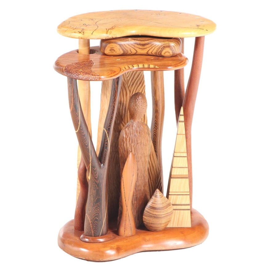 Steven Spiro Specimen Wood and MOP-Inlaid Mixed Hardwood Side Table