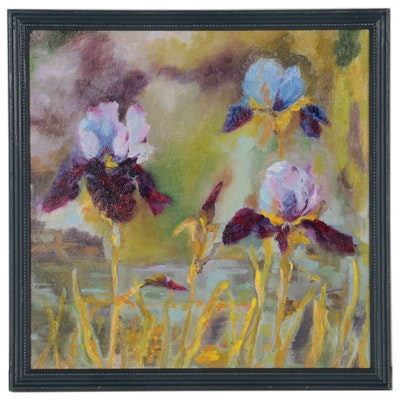 "Kate Ansolis Floral Oil Painting ""Irises,"" 2021"