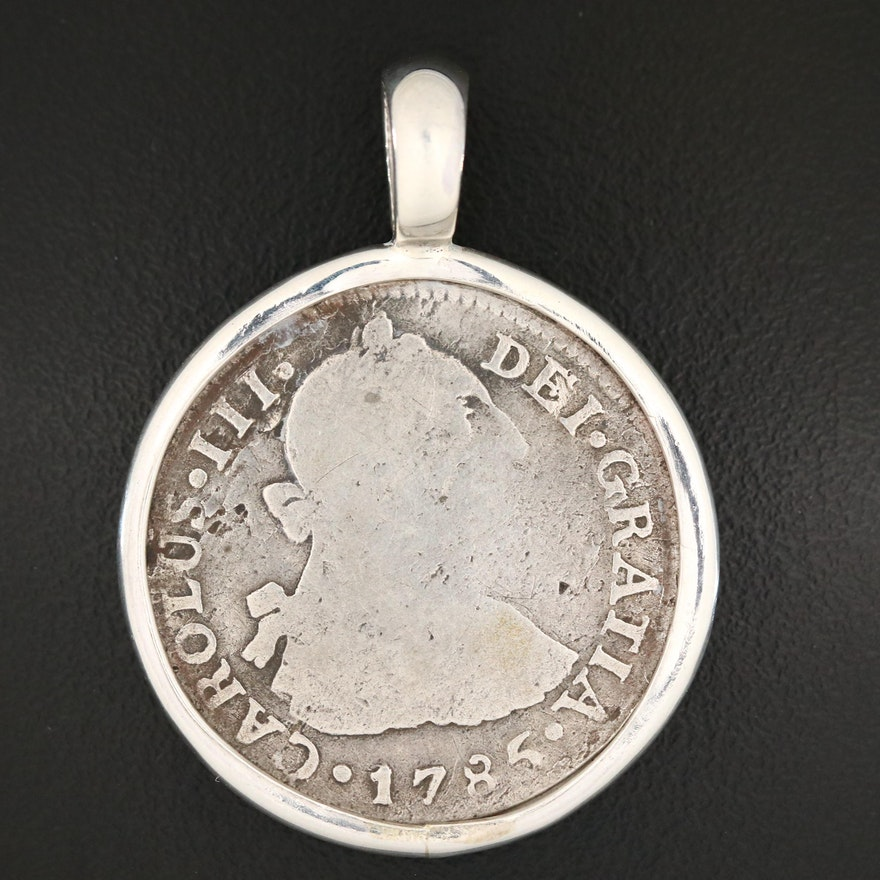 1785 Spanish Colonial (Peru) 2-Reales Silver Coin