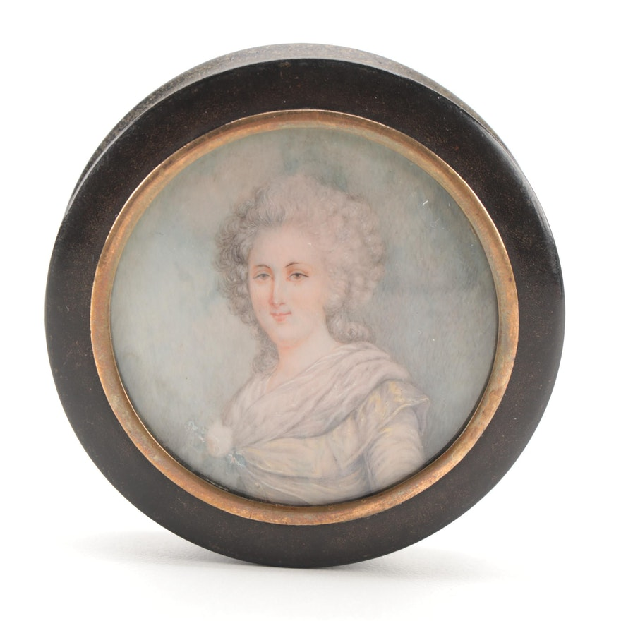 Lacquered Tortoise Shell Snuff Box with Celluloid Portrait Miniature in Lid