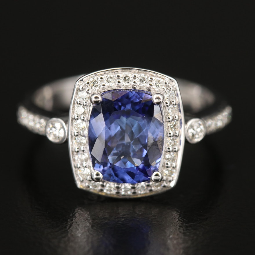 EFFY 14K WHITE GOLD DIAMOND, TANZANITE RING (WITH 9X7 CENTER SIZE)