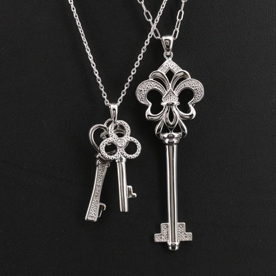 Sterling Diamond Key Necklaces
