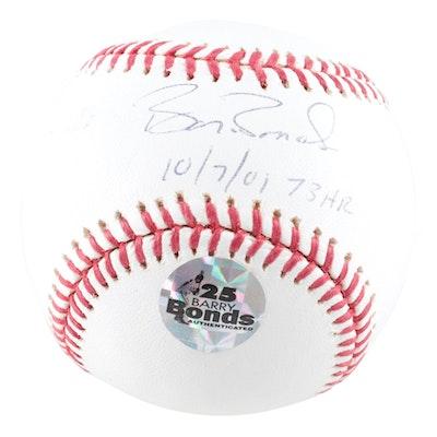 """2001 Barry Bonds Signed """"73 HR"""" Baseball, COA"""