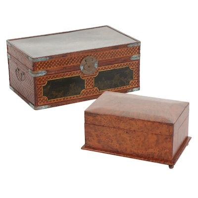 Moroccan Burl Wood Box and Chinese Woven Bamboo Chest