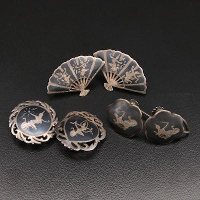 Siam Sterling Niello Earrings