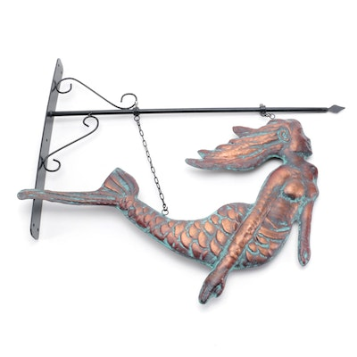 Patinated Copper Mermaid Outdoor Décor with Metal Wall Bracket