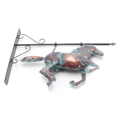 Patinated Copper Galloping Horse with Scroll Metal Wall Bracket