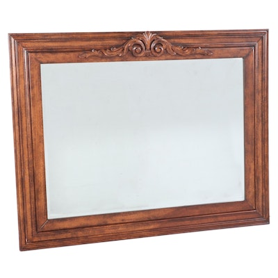 Monumental French Provincial Style Stained Wood Overmantel Mirror