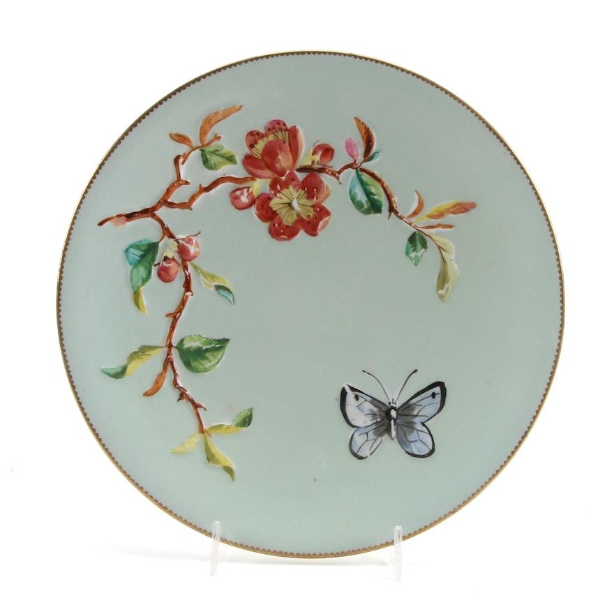 Victorian English Majolica Plate, Late 19th Century