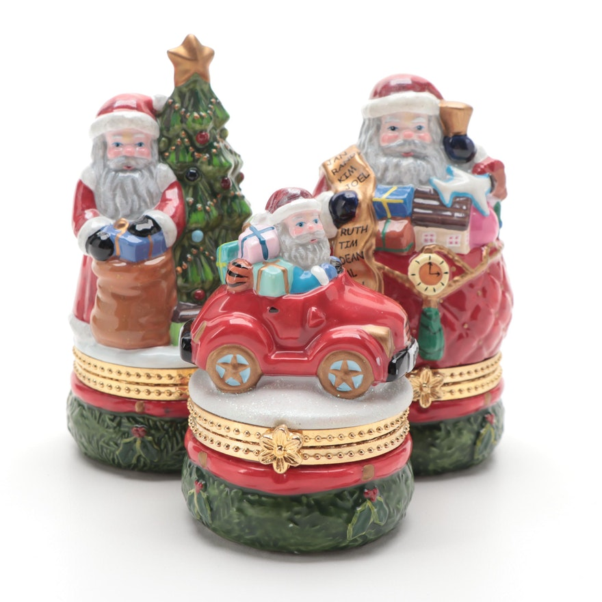 """Christopher Radko """"Nick of Time"""" and Other Porcelain Santa Boxes"""