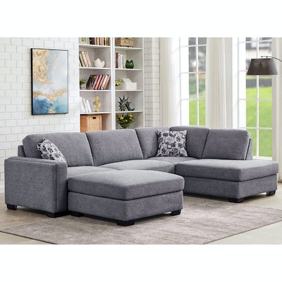 """Synergy Home Furnishings """"Maycen"""" Two-Piece Fabric Sectional and Ottoman"""