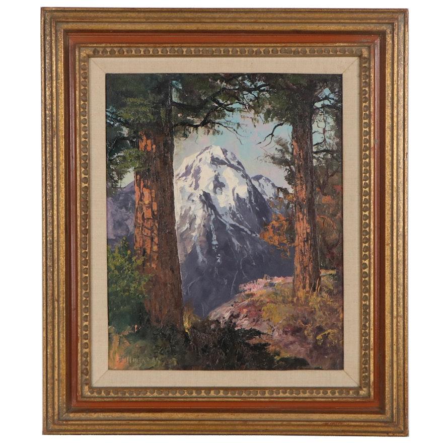 Segundo Huertas Landscape Oil Painting With Mountains