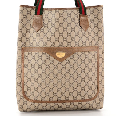 Gucci Plus Web Tote in Coated Canvas with Leather Trim