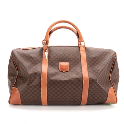 Celine Duffle Travel Bag in Macadam Canvas with Leather Trim