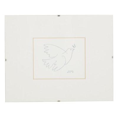 "Offset Lithograph After Pablo Picasso ""Blue Dove,"" 21st Century"