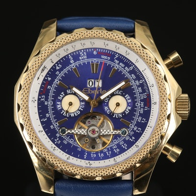 Eberle Triple Calendar Stainless Steel Wristwatch