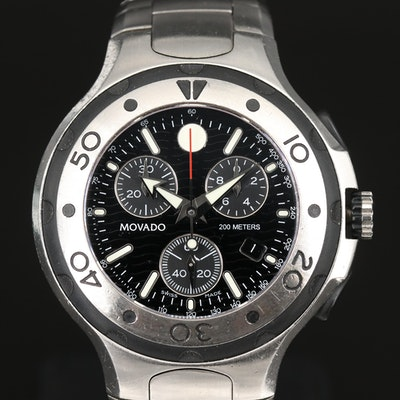Movado 800 Sport Edition Chronograph Stainless Steel Quartz Wristwatch