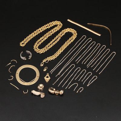 18K Scrap Jewelry Including Diamonds