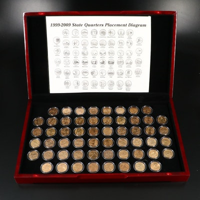 Complete Set of Gold-Plated Statehood and U.S. Territories Quarters