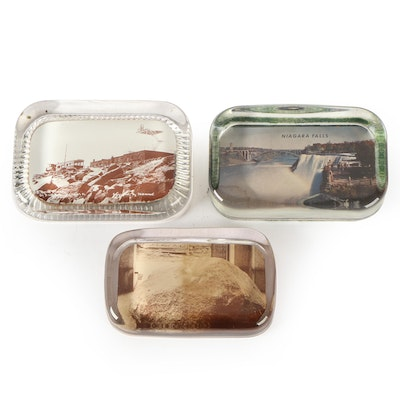 Photographic Souvenir Glass Paperweights Including Niagara Falls and More