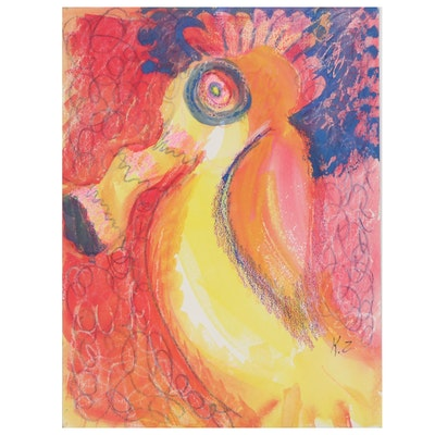 Kathleen Zimbicki Abstract Mixed Media of Creature