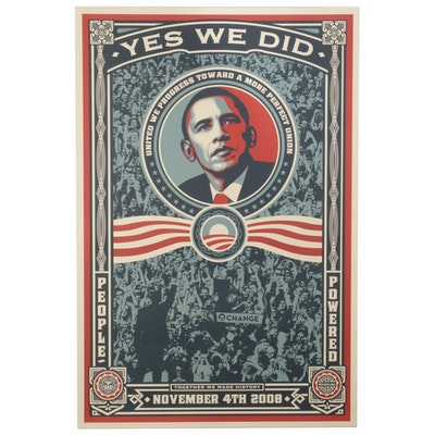 """Offset Lithograph After Shepard Fairey """"Yes We Did,"""" Circa 2008"""