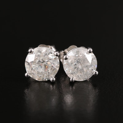 14K 2.61 CTW Diamond Martini Setting Stud Earrings with GIA Report