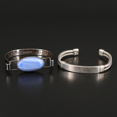 Sterling Agate Bracelet and Bar Cuff