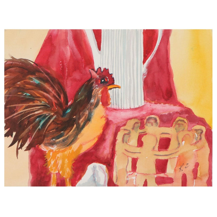 "Kathleen Zimbicki Watercolor Painting ""Chicken Fences"""